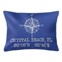 Crystal Beach, FL Compass Rose Lumbar Pillow - Blue