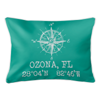 Ozona, FL Compass Rose Lumbar Pillow - Aqua