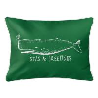 Vintage Whale Christmas Lumbar Pillow - Green