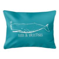 Vintage Whale Christmas Lumbar Pillow - Light Turquoise