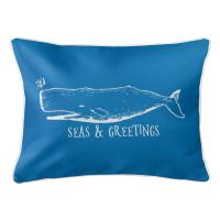 Vintage Whale Christmas Lumbar Pillow - Medium Blue