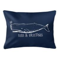 Vintage Whale Christmas Lumbar Pillow - Navy