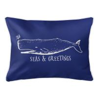 Vintage Whale Christmas Lumbar Pillow - Dark Blue