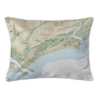 SC: Kiawah Island, SC Nautical Chart Lumbar Pillow