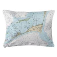 NC: Cape Hatteras, NC Nautical Chart Lumbar Pillow