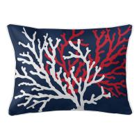 Coral Duo on Navy Lumbar Pillow