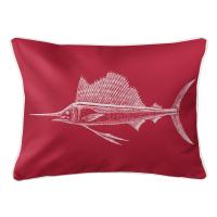 Sailfish Red Lumbar Pillow