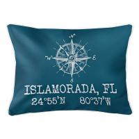 Custom Compass Rose Coordinates Lumbar Pillow - Turquoise