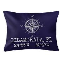 Custom Compass Rose Coordinates Lumbar Pillow - Navy