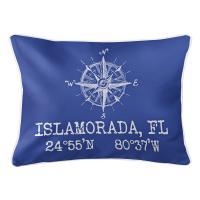 Custom Compass Rose Coordinates Lumbar Pillow - Blue