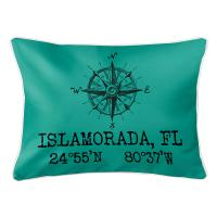Custom Compass Rose Coordinates Lumbar Pillow - Aqua