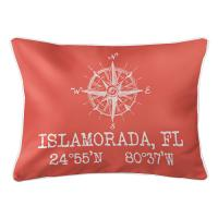 Custom Compass Rose Coordinates Lumbar Pillow - Coral