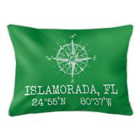 Custom Compass Rose Coordinates Lumbar Pillow - Green