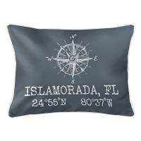 Custom Compass Rose Coordinates Lumbar Pillow - Gray
