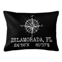 Custom Compass Rose Coordinates Lumbar Pillow - Black