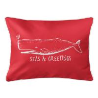 Vintage Whale Christmas Lumbar Pillow - Red