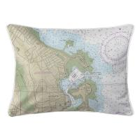 MA: Scituate Harbor, MA Nautical Chart Lumbar Pillow