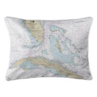 Straits of Florida Nautical Chart Lumbar Pillow
