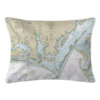 NC: Beaufort Inlet, Core Sound, NC Nautical Chart Lumbar Pillow