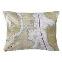 WA: Bremerton, Bainbridge Island, Seattle, WA Nautical Chart Lumbar Pillow