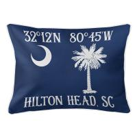 Personalized South Carolina Palm & Crescent Coordinates Lumbar Pillow