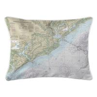 SC: Charleston Harbor and Approaches, SC Nautical Chart Lumbar Pillow