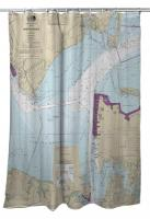 VA: Hampton Roads, Newport News, VA Nautical Chart Shower Curtain