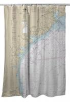 TX: Galveston to Rio Grande, TX Nautical Chart Shower Curtain
