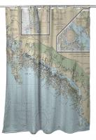 FL: Ten Thousand Islands, FL Nautical Chart Shower Curtain