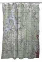 TX: Lake Travis, TX Topo Map Shower Curtain