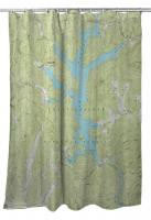 GA: Lake Burton, GA (1957) Topo Map Shower Curtain