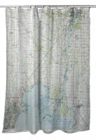 MI: Lake St. Clair (North), MI (1981) Topo Map Shower Curtain