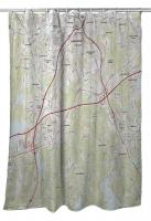 MA: Worcester South, MA Topo Map Shower Curtain