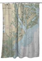 SC-GA: St. Helena Sound, SC to Savannah River, GA Nautical Chart Shower Curtain