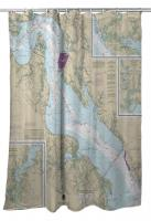 VA: James River; Newport News to Jamestown Island, VA Nautical Chart Shower Curtain