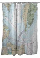 VA: Chesapeake Bay Entrance, VA Nautical Chart Shower Curtain