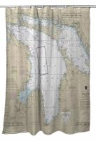 Lake Huron Nautical Chart Shower Curtain