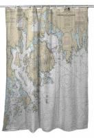 ME: Frenchman and Blue Hill Bays, ME Nautical Chart Shower Curtain