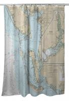 FL: Estero Bay to Lemon Bay, FL Nautical Chart Shower Curtain