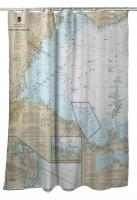 MI-OH: West End of Lake Erie, MI-OH Nautical Chart Shower Curtain