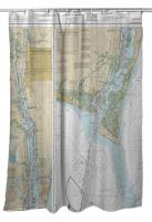 NC: Cape Fear River; Cape Fear to Wilmington, NC Nautical Chart Shower Curtain