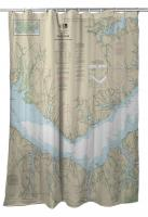 NC: Neuse River (EAST), Upper Bay River, NC Nautical Chart Shower Curtain