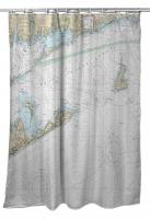 Block Island Sound and Approaches, RI-CT-NY Nautical Chart Shower Curtain