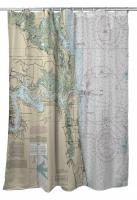 FL: Little Talbot Island, Jacksonville Beach, FL Nautical Chart Shower Curtain