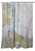 VA: Hampton, Norfolk, VA Nautical Chart Shower Curtain