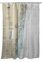 NJ: Sea Girt To Barnegat Inlet, NJ Nautical Chart Shower Curtain