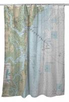 GA: Jekyll Island, St. Andrew Sound, GA Nautical Chart Shower Curtain