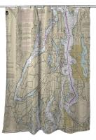 WA: Great Peninsula, Hood Canal, Seattle, WA Nautical Chart Shower Curtain
