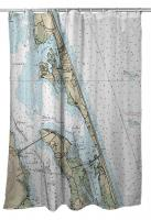 NC: Kitty Hawk, Kill Devil Hills, Nags Head, NC Nautical Chart Shower Curtain