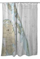 NC: Southern Shores to Hatteras Island, NC Nautical Chart Shower Curtain